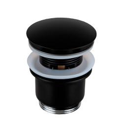 """Донный клапан Remer RR905CC2 NO чёрный матовый click-clack 1,1/4"""" с переливом."""